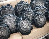 Black Gray Ombre Ruffle Rose Pillow - Medium
