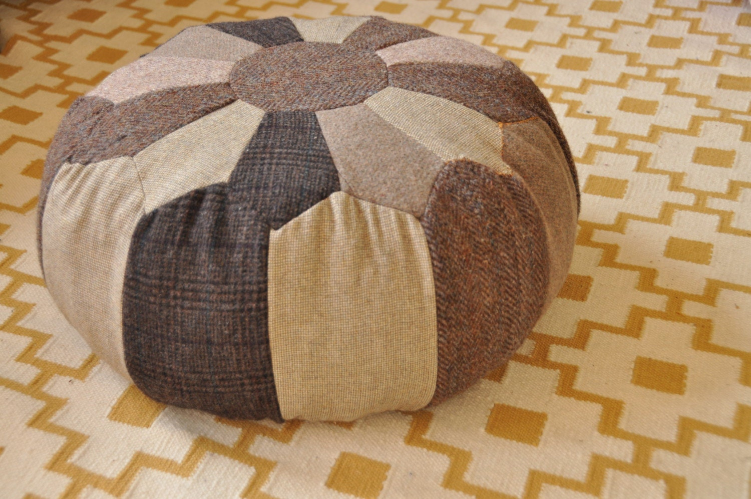 Moroccan style handmade pouf floor pillow seat...made from