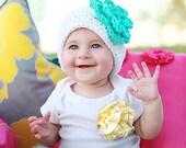 Flower Beanie Hat-Size 2 to Preteen