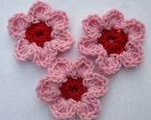 Pink/Red Crochet Flower Hair Clip