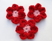 Red/Pink Crochet Flower Hair Clip