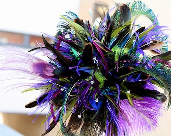 Feather wedding bouquet for Bride or Bridesmaid  or used as deco centerpiece - Peacock Blast