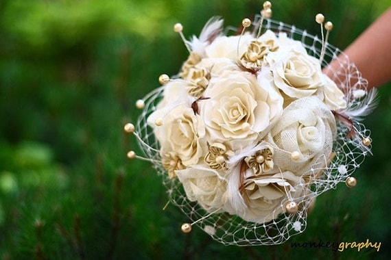 Bridal bouquet GLAMOROUS ACCENT II - Sinamay and dupioni Silk handmade flower