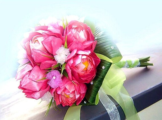 Bridal bouquet package. LOTUS- Hand tied with totally handmade ribbon flowers. Matching boutonniere included.