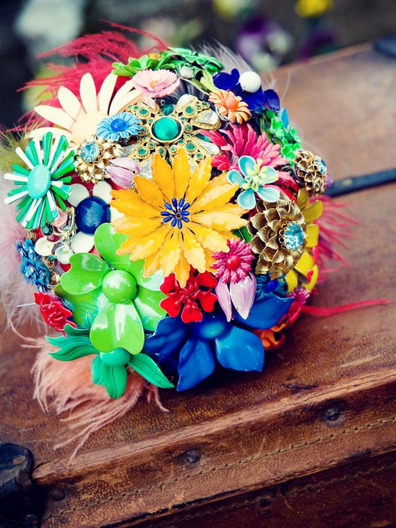 NEW - NEON FALL - Vintage inspired Bridal Bouquet with Vintage Floral Brooches and Earrings,Ribbon, Marabou and more