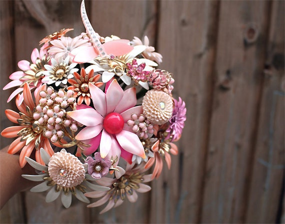 Bridal brooch bouquet EVER AFTER III - wedding keepsake made with vintage costume jewellery