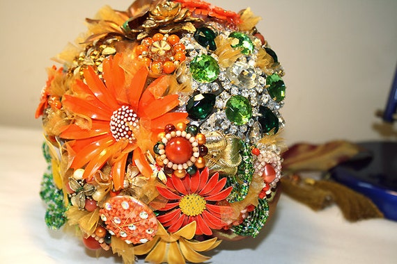 MOVING SALE - vintage brooch bridal bouquet -  all moving sale bouquets 135 GBP plus shipping