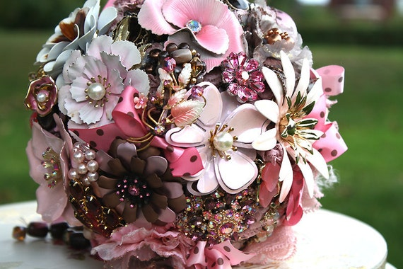 Vintage brooch bouquet  -  Wedding Bouquet - SALE - pink and brown -