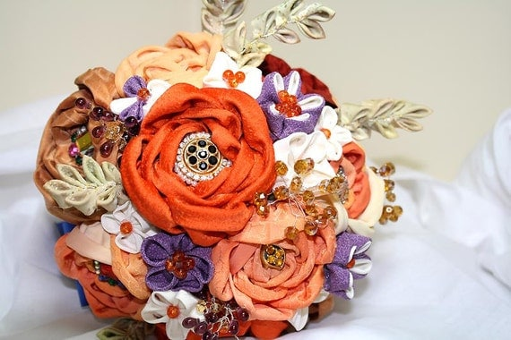 Bridal bouquet and matching boutonniere -  Made to order - reserved for  Laura