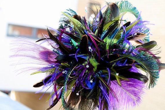 Peacock Blast II -   feather wedding bouquet for Bride or Bridesmaid  or used as deco centerpiece