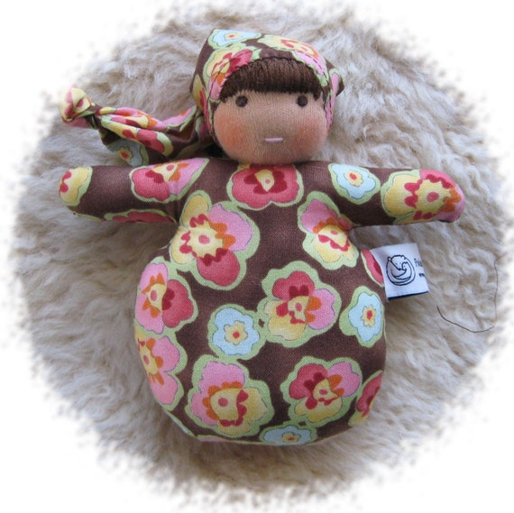 Waldorf Inspired Doll Mini Baby  Pansies on Brown