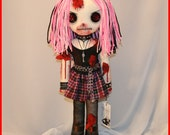 OOAK Hand Stitched Zombie Horror Doll Creepy Gothic Gore Folk Art By Jodi Cain