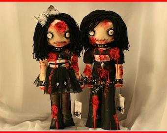 OOAK Hand Stitched Zombie Horror Rag Dolls Creepy Bloody Gothic Outsider Art By Jodi Cain Tattered Rags