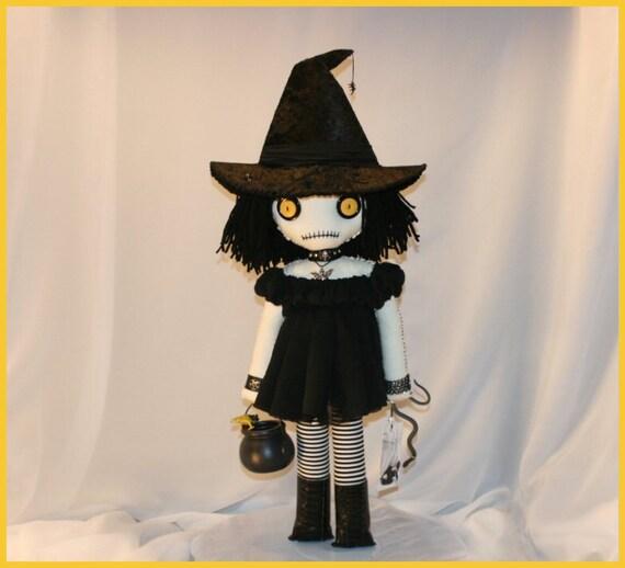 OOAK Hand Stitched Witch Doll Creepy Gothic Halloween Folk Art By Jodi Cain