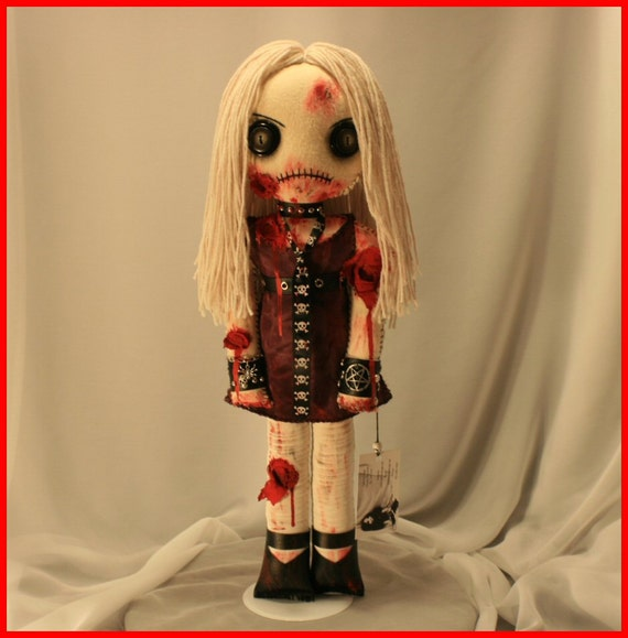 OOAK Hand Stitched Zombie Horror Doll Creepy Gothic Gore Folk Art By Jodi Cain