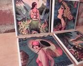 Set of 4 Ceramic Coasters, Beautiful Island Ladies