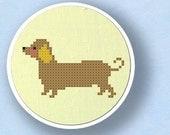 Sweet Dachshund. Dog Cross Stitch PDF Pattern