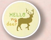 Hello My Deer. Pun Cross Stitch Pattern PDF Instant Download