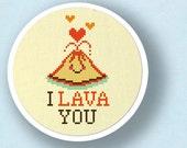 I Lava You - Cute Erupting Heart Volcano Pun Cross Stitch PDF Pattern Instant Download