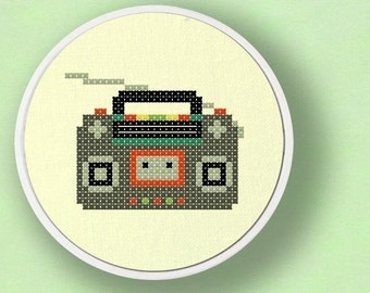 Radio. Modern Simple Cute Counted Cross Stitch Pattern PDF File. Instant Download