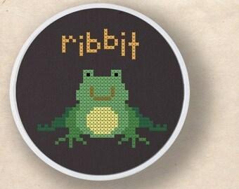 Happy Froggy. Ribbit and Yum Frog Cross Stitch PDF Pattern