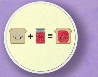 Toast plus Jam equals. Modern Simple Cute Cross Stitch PDF Patterns