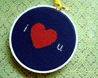 I heart u. Love Cross Stitch PDF Pattern