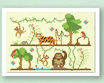 Jungle Fun. Animal Large Modern Simple Cute Counted Cross Stitch PDF Pattern. Instant Download