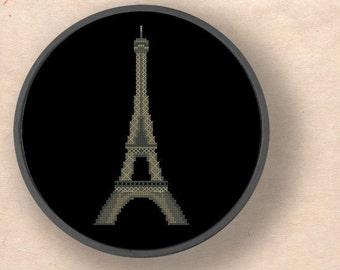 Eiffel Tower. Paris France Modern Simple Cute Cross Stitch Pattern PDF File. Instant Download