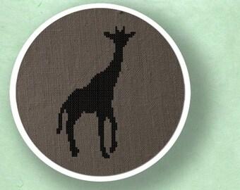 Giraffe Silhouette. Cross Stitch PDF Pattern