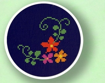 Pretty Flowers on a Vine. Modern Simple Cute Counted Cross Stitch Pattern PDF File. Instant Download