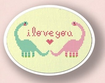 Dino Love. Cross Stitch Pattern PDF File
