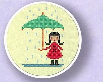 Cute Umbrella Girl. Cross Stitch PDF Pattern