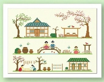 Traditional Korean Home. Large Best Seller Cross Stitch PDF Pattern