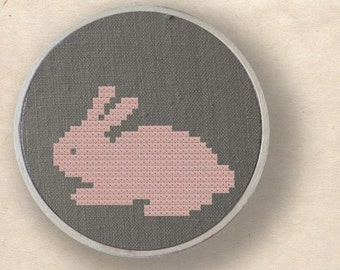Cute Bunny Silhouette. Cross Stitch PDF Pattern