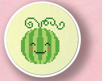 Happy Watermelon. Fruit Modern Simple Cute Cross Stitch PDF Pattern
