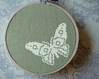 Flutter. Butterfly Insect. Modern Simple Cute Pretty Cross Stitch Pattern. PDF Instant Download