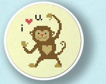 Monkey love. Modern Simple Cute Counted Cross Stitch PDF Pattern Instant Download