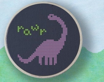 Cute Dino Rawr. Dinosaur Cross Stitch Pattern PDF File