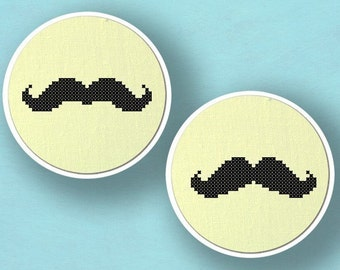 My Stache and Your Stache. Set of Two Best Seller Mustache Cross Stitch PDF Patterns