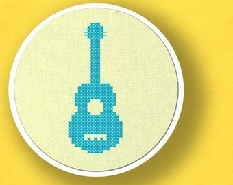 Guitar. Musical Instrument Cross Stitch PDF Pattern Instant Download