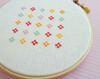 Cute and Colorful Flower. Modern Simple Cute Counted Cross Stitch PDF Pattern. Instant Download