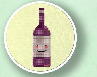Happy Wine Bottle. Cross Stitch Pattern. PDF File