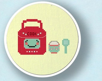 Cute Red Rice Cooker. Modern Simple Cute Counted Cross Stitch PDF Pattern. Instant Download
