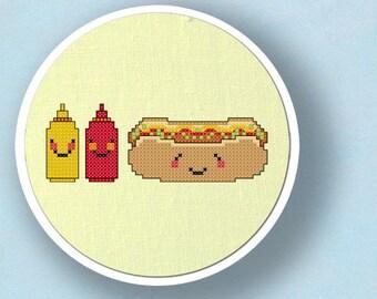 Happy Hot Dog and Condiments. Cross Stitch PDF Pattern