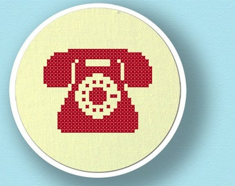 Red Telephone Silhouette. Cross Stitch PDF Pattern