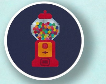 Gumball Machine. Cross Stitch Pattern PDF File