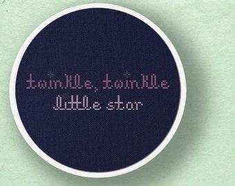 Twinkle, Twinkle Little Star. Text Cross Stitch Pattern PDF File