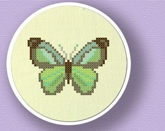 Pretty Green Butterfly. Cross Stitch Pattern PDF File
