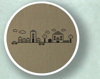 My Cute Neighborhood. Modern Simple Cute Counted Cross Stitch PDF Pattern. Instant Download
